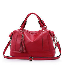 100% Genuine Leather Retro Tassel Women Satchel Handbag Tote Purse Shoulder Bag