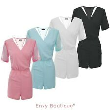 NEW LADIES WOMENS CHIFFON WRAP V NECK PLAYSUIT DRESS JUMPSUIT SIZES 8-14
