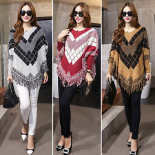 Womens Loose Batwing Sleeve Sweater Coat Jumper Tops Outwear Tassel Poncho