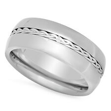 Men's Titanium 6mm Comfort Fit Ring w/Braided Sterling Silver Inlay