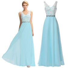 WOMEN Long Lace Dress Evening Prom Beading Gown Formal Bridesmaid Cocktail Party