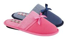 NEW LADIES SLIP ON SOFT FUR STRIPE SPOTTED BOW COMFORTABLE MULE SLIPPERS