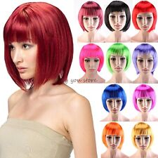 Real Thick Short BOB Full Head Wigs Cosplay Costume Party Fancy Dress Black C51