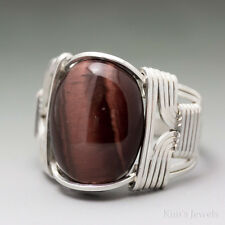 Red Tigers Eye Sterling Silver Wire Wrapped Cabochon Ring