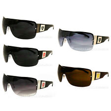 New Mens Khan Fashion Shield Sunglasses Sport Designer Shades Black Silver Blue