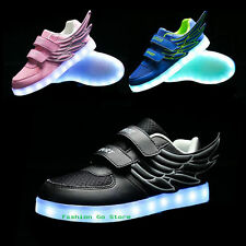 Kids Boys Girls Luminous Wings Child Dance LED Light Up Sneakers Casual Shoes