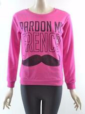 "FREEZE Hot Pink ""Pardon My French"" Graphic Long Sleeve Sweater Top - XS S M L"