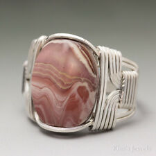 Hickoryite Rhyolite Sterling Silver Wire Wrapped Cabochon Ring
