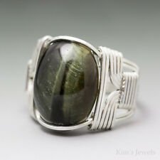 Green Tigers Eye Sterling Silver Wire Wrapped Cabochon Ring