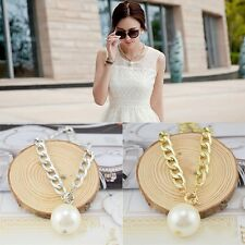Women's Fashion Clavicle Pendant Necklace Large Pearl Chain Short Chain