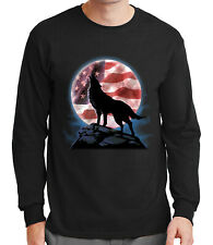 AMERICAN HOWL Men's Long Sleeve T-shirt USA Flag and Wolf Patriotic Tee - 1400C