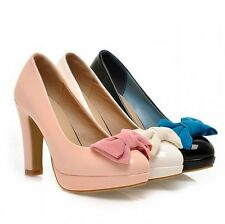 AU Size Sweet Pumps Bow Synthetic Patent Leather Thick High Heel Lady Shoes s356