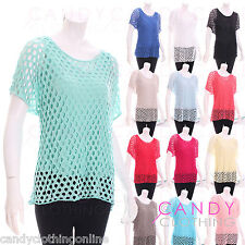 Ladies Crochet Women Netted Top Jersey Stretch Lace Blouse Floral Netted Vest