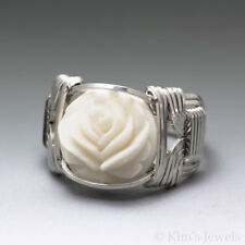 Carved Bone (bovine) Lotus Cameo Sterling Silver Wire Wrapped Ring
