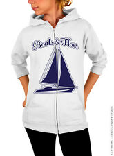Boats and Hoes - White Gildan Zip Up Hoodie Sweatshirt with Navy Blue Ink