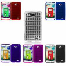 For LG Optimus L70 D325 MS323 Exceed II TPU Candy Skin Silicone Plaid Case Cover