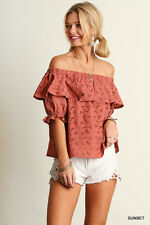 Umgee USA Off-Shoulder Crochet Eyelet Lace Ruffle Top Blouse Sunset New S M L