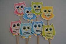 UNIQUE PERSONALIZED OWL CUPCAKE TOPPERS BABY SHOWER, BIRTHDAY CUPCAKE PICKS OWL