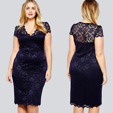 Fashion Women V-neck Lace Dress Party Cocktail Evening Dress Navy Blue Plus Size