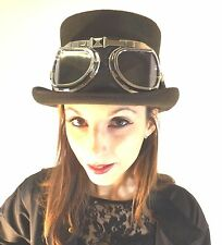 New Steampunk English Victorian Dark Brown Quality Wool Top Hat With Goggles