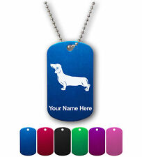 Personalized Military ID Dog Tag with Chain - Dachshund Dog, Puppy, Pet