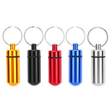 Waterproof Pill Box Case Bottle Drug Capsule Medicine Storage Aluminum Keychain