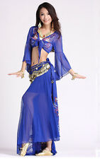 Sexy Belly Dance Costume Halter Bra Top Hip Scarf Skirt 3pcs Performance Wear