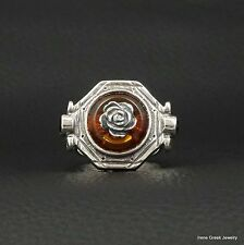 RARE NATURAL PRESSED AMBER & GARNET 925 STERLING SILVER GREEK HANDMADE ART RING