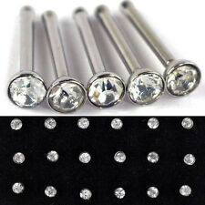 24Pcs Wholesale Stainless Steel Crystal Nose Studs Body Jewelry Piercing New