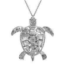 14k White Gold Vertical Textured Lucky Hawaiian Honu Sea Turtle Pendant Necklace