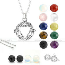 Natural Love Heart Gem Bead Locket Hollow Aromatherapy Cage Pendant Necklace