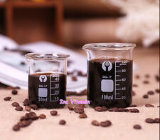 Lab Glass Measuring Cup Beaker Coffee Espresso Graduated Borosilicate Laboratory