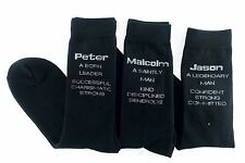 Socks Mens Men Personalised Name (T to W)  Pair of Cotton Black Gift Novelty