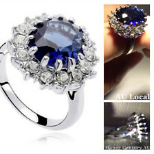 Gorgeous Lady Sapphire Ring Rhinestone Classic Jewelry Blue Crystal JRING1618/19