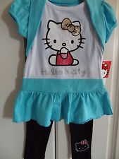 NWT Hello Kitty Toddler Aqua & Black Sparkly Two-Piece Outfit -Tunic/Leggings