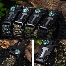 Rope Paracord Survival Bracelet Flint Fire Starter Compass Whistle Camping Wrist