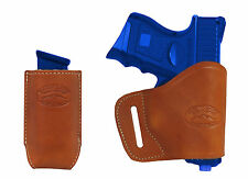 New Barsony Tan Leather Yaqui Holster + Mag Pouch Colt Kimber Compact 9mm 40 45