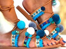 "POM POM Sandals, Leather Sandals, Gladiator sandals, ""Hippieland"" Greek Sandals,"