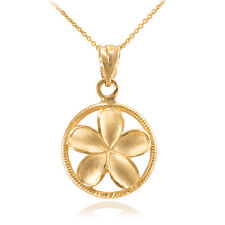 10k Gold Roped Circle Hawaiian Plumeria Frangipani Flower Charm Pendant Necklace