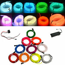 EL Wire String Strip Rope Tube LED Light Glow Car Dance Party + 3/12V Controller