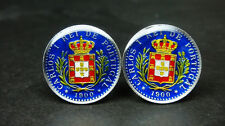 1900 Portugal enameled old coin cufflinks 50 Reis CARLOS I REI DE PORTUGAL
