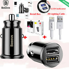 Quick Charge 3.0 AICase Qualcomm 30W High Rapid 2 Port USB Car Charger &1M Cable