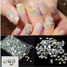 1000Pcs Nail Art Flatback Crystal AB 14 Facets Resin Round 4mm Rhinestone BeadsQ