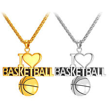 316L Stainless Steel I Love Basketball Pendant Necklaces 18K Gold Plated Jewelry