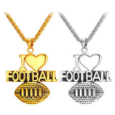 Stainless Steel I Love Football Pendant Necklace 18KGP Gridiron Sport Jewelry