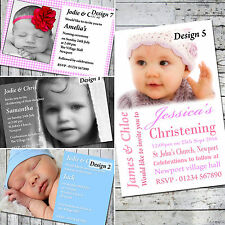 Personalised Photo CHRISTENING New Baby Cards - THANK YOU / INVITES + Envelopes