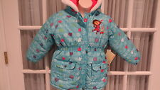 NWT Nickelodeon Dora the Explorer Faux Fur Hooded Winter Parka - Blue: 2T-4T