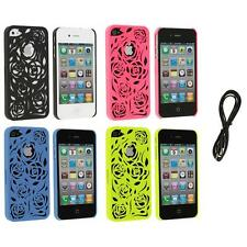 Color Lovely Carving Rose Flower Rear Hard Case+6FT Aux for iPhone 4 4G 4S