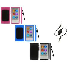 Color TPU Rubber Case Cover Belt Clip+Aux Cable for iPod Nano 7th Gen 7 7G