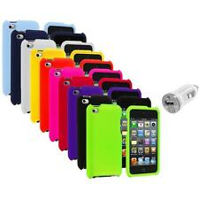 Color Hard Rubberized Case Cover+USB Charger for iPod Touch 4th Gen 4G 4